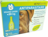 VETOFORM ANTIPARASITAIRE GRAND CHIEN 20KG 6PIPETTES